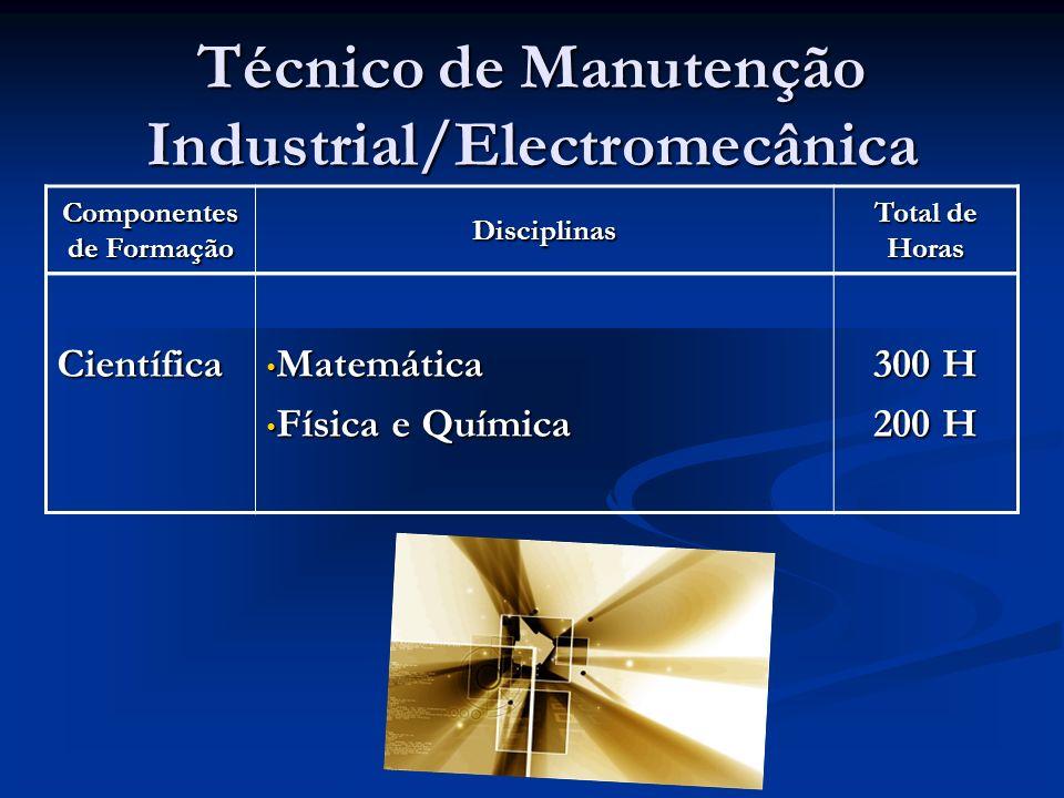 Componentes de Formação Disciplinas Total de Horas Técnico de Manutenção Industrial/Electromecânica Científica Matemática Matemática Física e Química Física e Química 300 H 200 H
