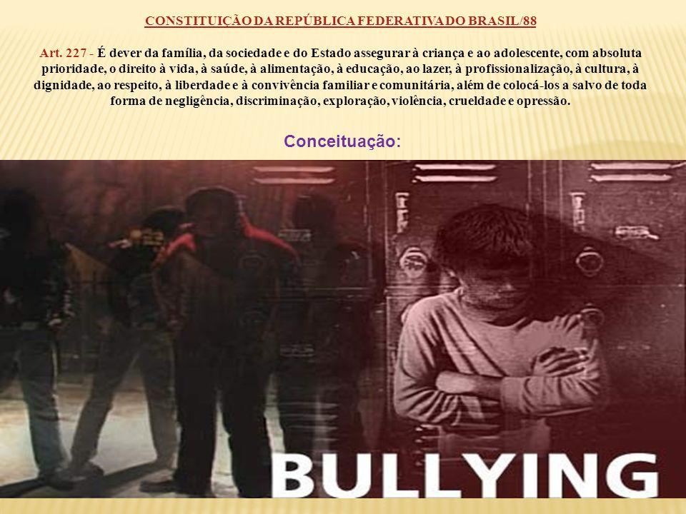 Conceituação: CONSTITUIÇÃO DA REPÚBLICA FEDERATIVA DO BRASIL/88 Art. 227 - É dever da família, da sociedade e do Estado assegurar à criança e ao adole