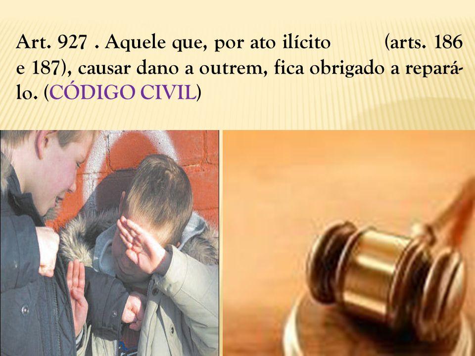 Art. 927. Aquele que, por ato ilícito (arts. 186 e 187), causar dano a outrem, fica obrigado a repará- lo. (CÓDIGO CIVIL)