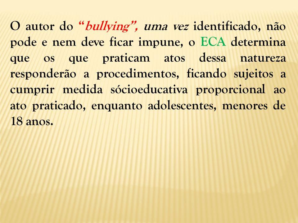 O autor do bullying, uma vez identificado, não pode e nem deve ficar impune, o ECA determina que os que praticam atos dessa natureza responderão a pro