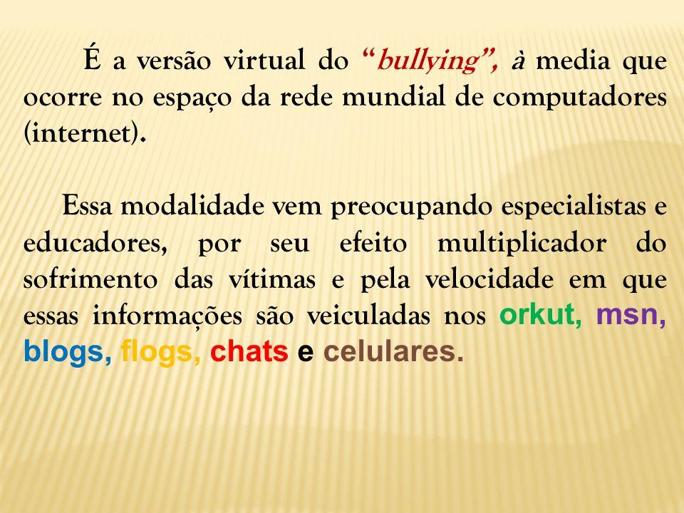É a versão virtual do bullying, à media que ocorre no espaço da rede mundial de computadores (internet). Essa modalidade vem preocupando especialistas