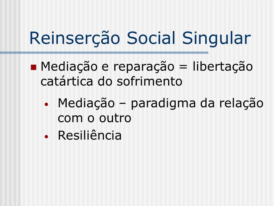 Reinserção Social Singular Mediação e reparação = libertação catártica do sofrimento Mediação – paradigma da relação com o outro Resiliência