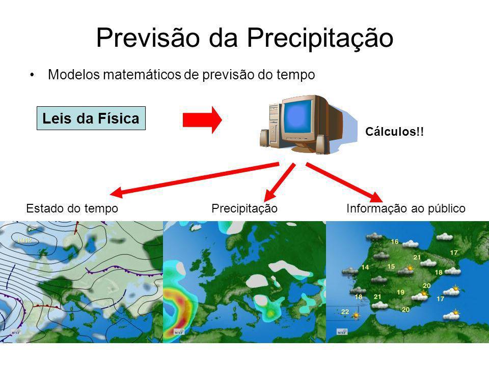 Previsão da Precipitação Modelos matemáticos de previsão do tempo Leis da Física Cálculos!.