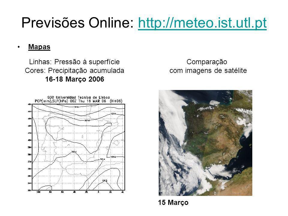 Mapas Linhas: Pressão à superfície Cores: Precipitação acumulada 16-18 Março 2006 Previsões Online: http://meteo.ist.utl.pthttp://meteo.ist.utl.pt Comparação com imagens de satélite 15 Março
