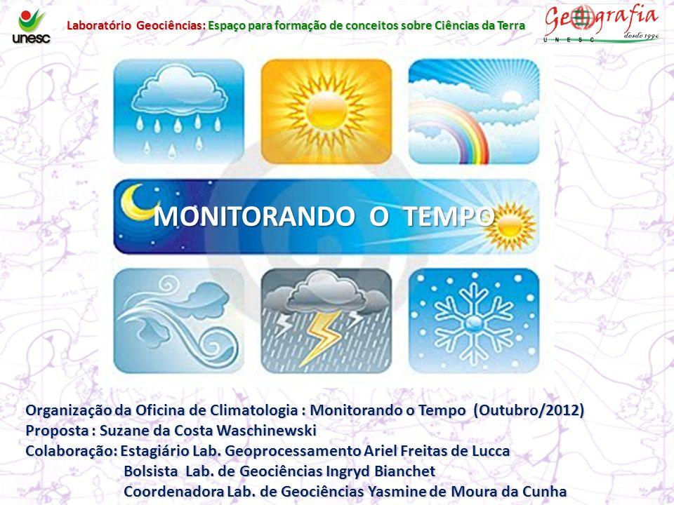 MONITORANDO O TEMPO Organização da Oficina de Climatologia : Monitorando o Tempo (Outubro/2012) Proposta : Suzane da Costa Waschinewski Colaboração: Estagiário Lab.