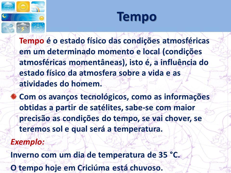 Tempo Tempo é o estado físico das condições atmosféricas em um determinado momento e local (condições atmosféricas momentâneas), isto é, a influência do estado físico da atmosfera sobre a vida e as atividades do homem.