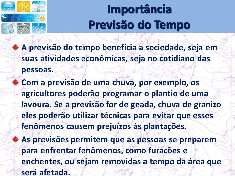 Importância Previsão do Tempo A previsão do tempo beneficia a sociedade, seja em suas atividades econômicas, seja no cotidiano das pessoas.