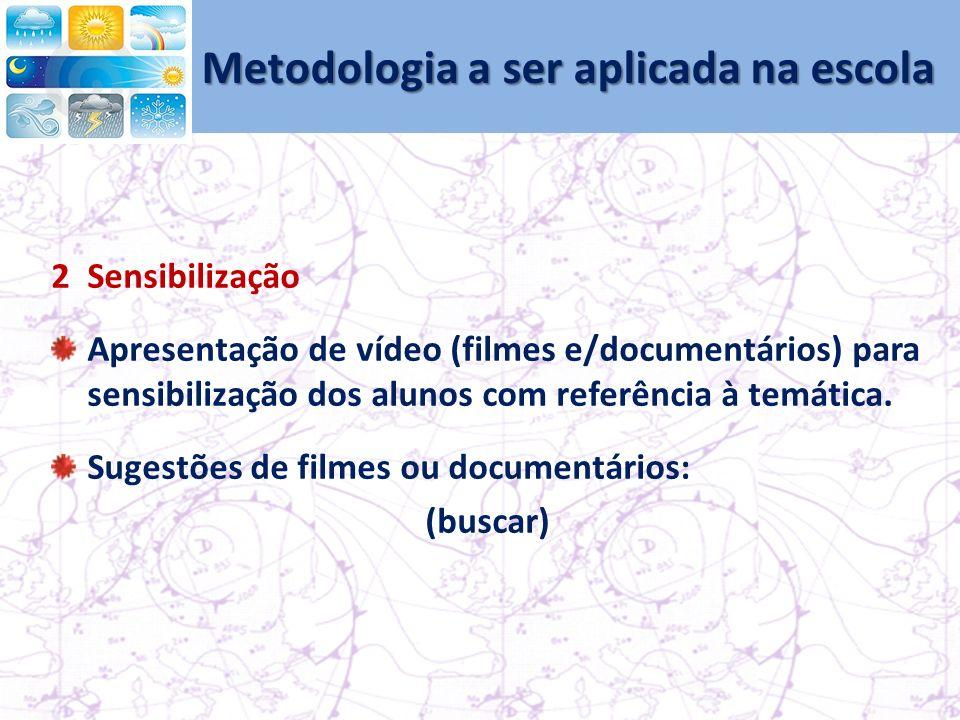 Metodologia a ser aplicada na escola 2Sensibilização Apresentação de vídeo (filmes e/documentários) para sensibilização dos alunos com referência à temática.