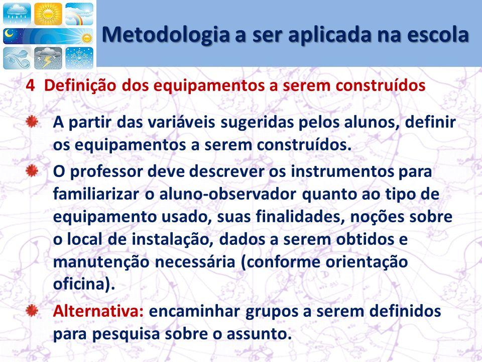 Metodologia a ser aplicada na escola 4 Definição dos equipamentos a serem construídos A partir das variáveis sugeridas pelos alunos, definir os equipamentos a serem construídos.