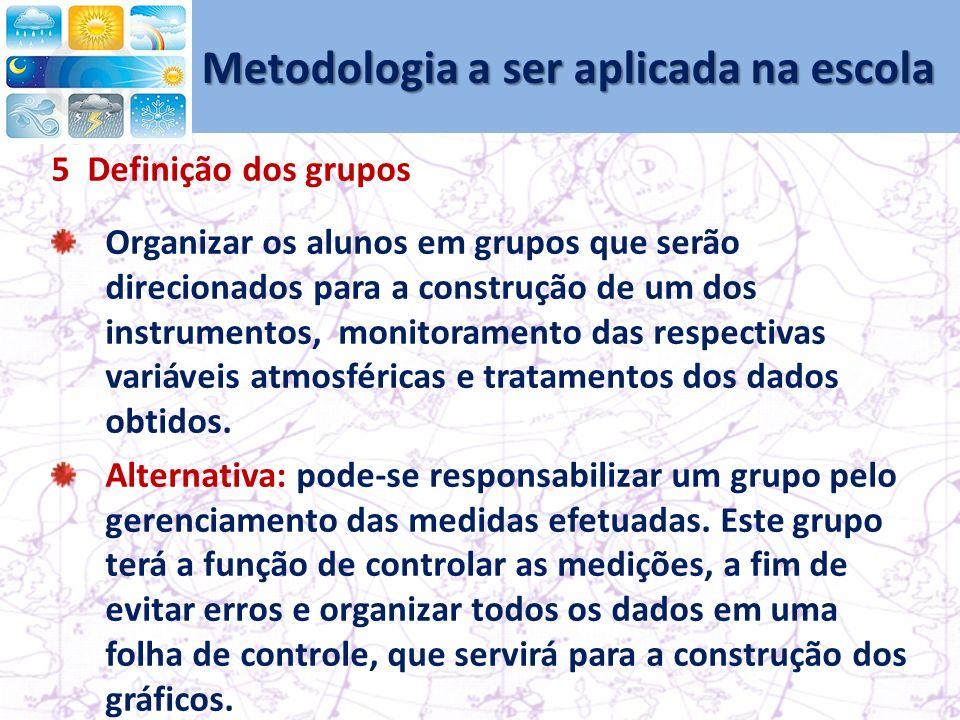 Metodologia a ser aplicada na escola 5 Definição dos grupos Organizar os alunos em grupos que serão direcionados para a construção de um dos instrumentos, monitoramento das respectivas variáveis atmosféricas e tratamentos dos dados obtidos.