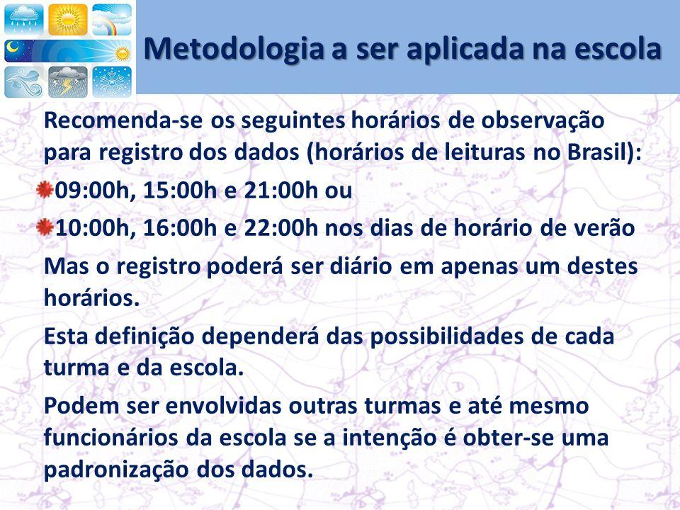 Metodologia a ser aplicada na escola Recomenda-se os seguintes horários de observação para registro dos dados (horários de leituras no Brasil): 09:00h, 15:00h e 21:00h ou 10:00h, 16:00h e 22:00h nos dias de horário de verão Mas o registro poderá ser diário em apenas um destes horários.