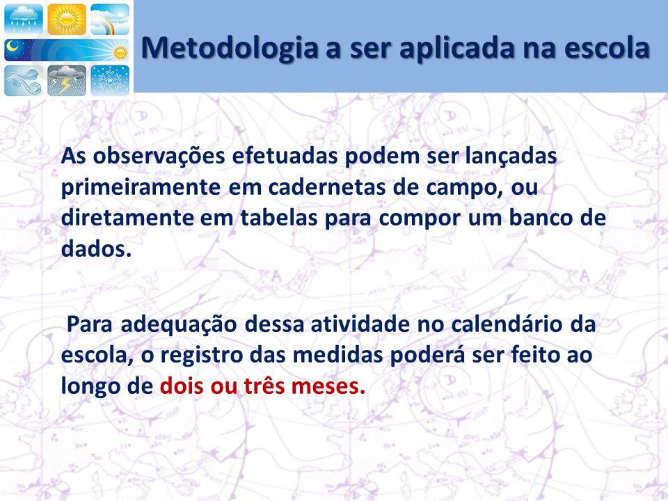 Metodologia a ser aplicada na escola As observações efetuadas podem ser lançadas primeiramente em cadernetas de campo, ou diretamente em tabelas para compor um banco de dados.