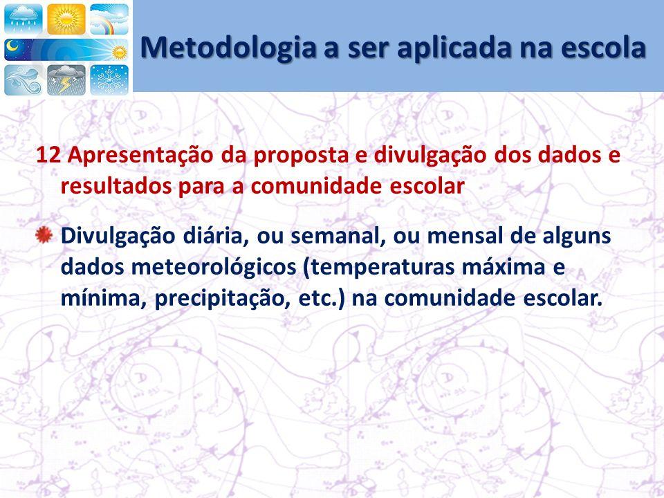 Metodologia a ser aplicada na escola 12 Apresentação da proposta e divulgação dos dados e resultados para a comunidade escolar Divulgação diária, ou semanal, ou mensal de alguns dados meteorológicos (temperaturas máxima e mínima, precipitação, etc.) na comunidade escolar.