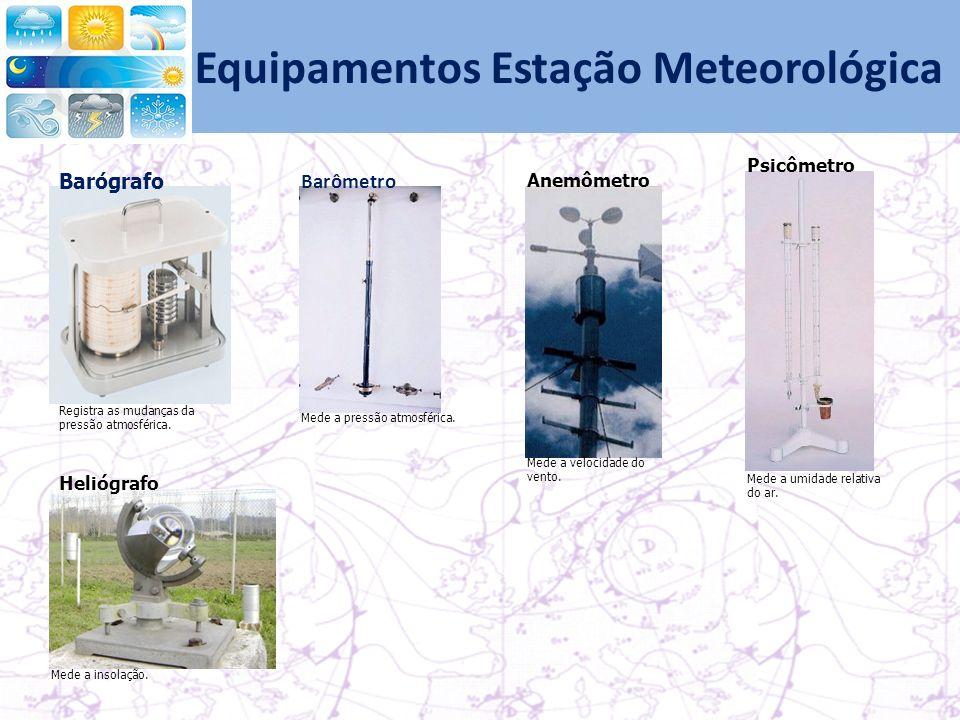 Registra as mudanças da pressão atmosférica.Barógrafo Barômetro Mede a pressão atmosférica.