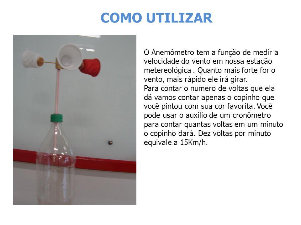 COMO UTILIZAR O Anemômetro tem a função de medir a velocidade do vento em nossa estação metereológica.