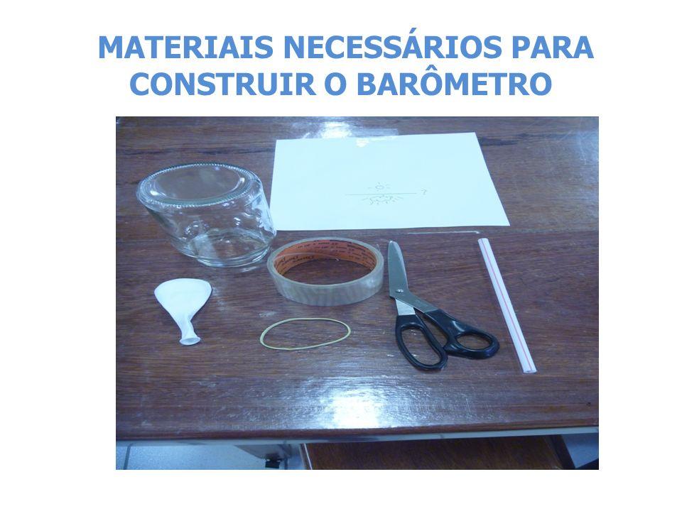 MATERIAIS NECESSÁRIOS PARA CONSTRUIR O BARÔMETRO