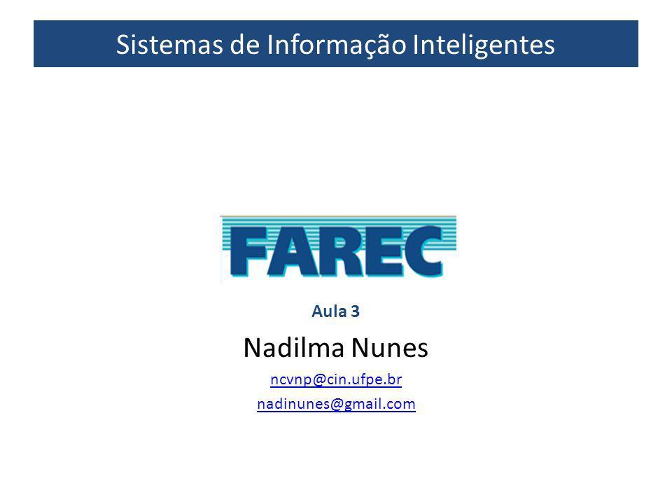 Sistemas de Informação Inteligentes Aula 3 Nadilma Nunes ncvnp@cin.ufpe.br nadinunes@gmail.com
