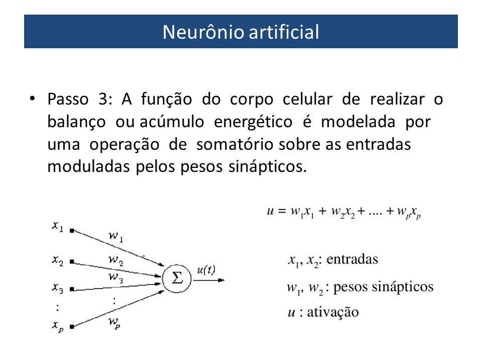 Neurônio artificial Passo 3: A função do corpo celular de realizar o balanço ou acúmulo energético é modelada por uma operação de somatório sobre as e