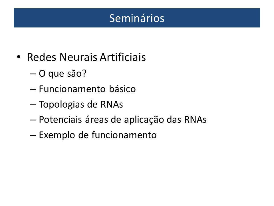 Seminários Redes Neurais Artificiais – O que são? – Funcionamento básico – Topologias de RNAs – Potenciais áreas de aplicação das RNAs – Exemplo de fu