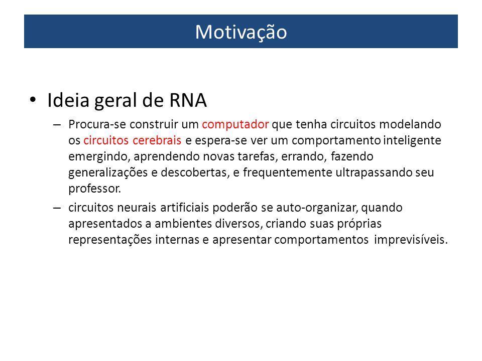 Aplicação de RNA - Otimização Tarefa: encontrar solução que satisfaça a um conjunto de restrições tal que uma função objetivo seja maximizada ou minimizada Exemplo – Problema do caixeiro viajante (NP completo)