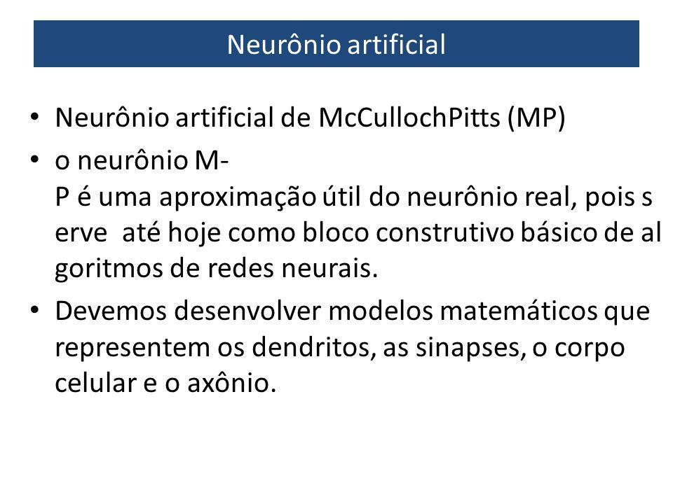 Neurônio artificial Neurônio artificial de McCullochPitts (MP) o neurônio M P é uma aproximação útil do neurônio real, pois s erve até hoje como blo