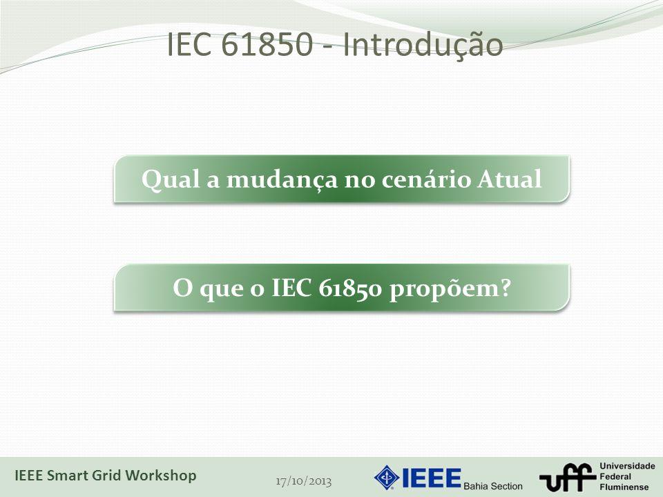 IEC 61850 - Introdução 17/10/2013 Qual a mudança no cenário Atual O que o IEC 61850 propõem? IEEE Smart Grid Workshop