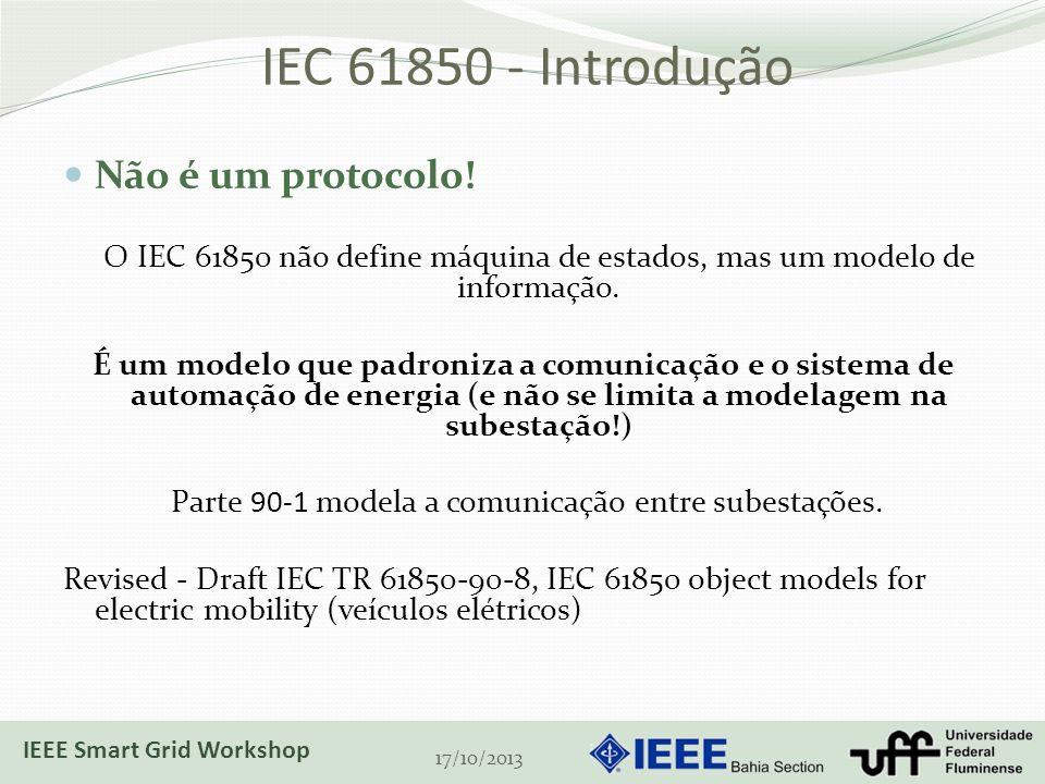 IEC 61850 - Introdução Não é um protocolo! O IEC 61850 não define máquina de estados, mas um modelo de informação. É um modelo que padroniza a comunic