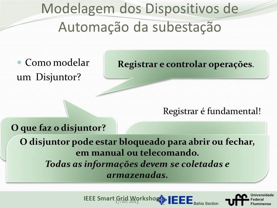 Modelagem dos Dispositivos de Automação da subestação Como modelar um Disjuntor? 17/10/2013 IEEE Smart Grid Workshop Registrar e controlar operações.