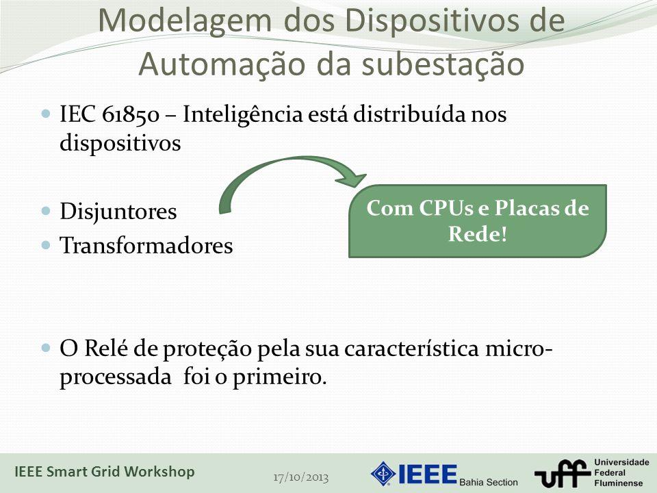 Modelagem dos Dispositivos de Automação da subestação IEC 61850 – Inteligência está distribuída nos dispositivos Disjuntores Transformadores O Relé de proteção pela sua característica micro- processada foi o primeiro.