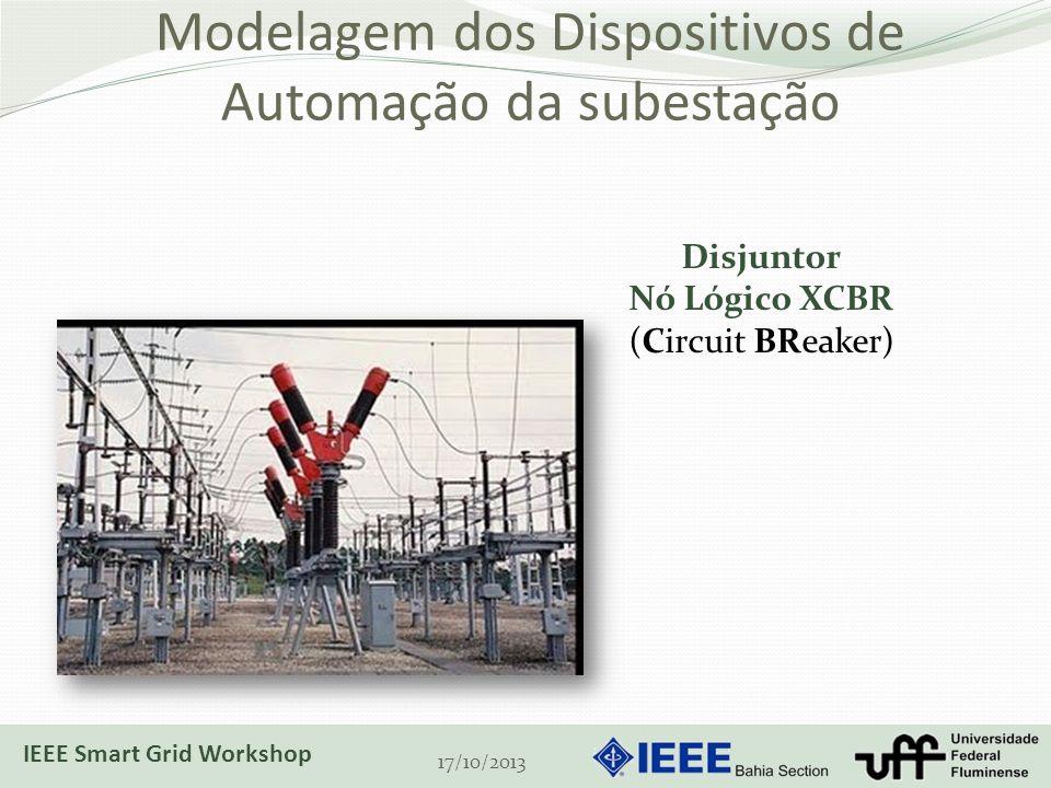 Modelagem dos Dispositivos de Automação da subestação 17/10/2013 Disjuntor Nó Lógico XCBR (Circuit BReaker) IEEE Smart Grid Workshop