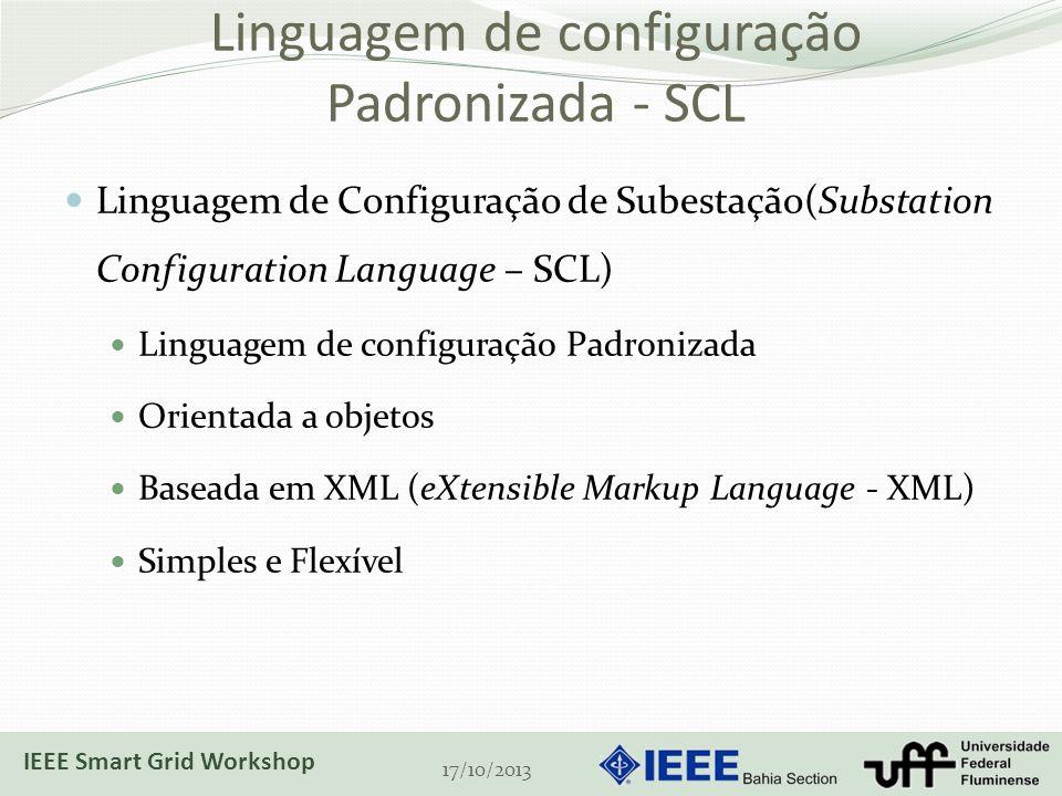 Linguagem de configuração Padronizada - SCL Linguagem de Configuração de Subestação(Substation Configuration Language – SCL) Linguagem de configuração Padronizada Orientada a objetos Baseada em XML (eXtensible Markup Language - XML) Simples e Flexível 17/10/2013 IEEE Smart Grid Workshop