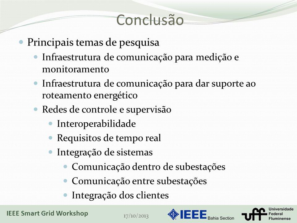 Conclusão 17/10/2013 Principais temas de pesquisa Infraestrutura de comunicação para medição e monitoramento Infraestrutura de comunicação para dar suporte ao roteamento energético Redes de controle e supervisão Interoperabilidade Requisitos de tempo real Integração de sistemas Comunicação dentro de subestações Comunicação entre subestações Integração dos clientes IEEE Smart Grid Workshop