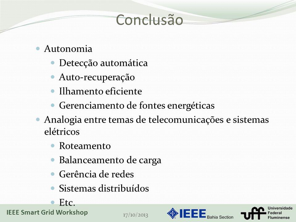 Conclusão 17/10/2013 Autonomia Detecção automática Auto-recuperação Ilhamento eficiente Gerenciamento de fontes energéticas Analogia entre temas de telecomunicações e sistemas elétricos Roteamento Balanceamento de carga Gerência de redes Sistemas distribuídos Etc.