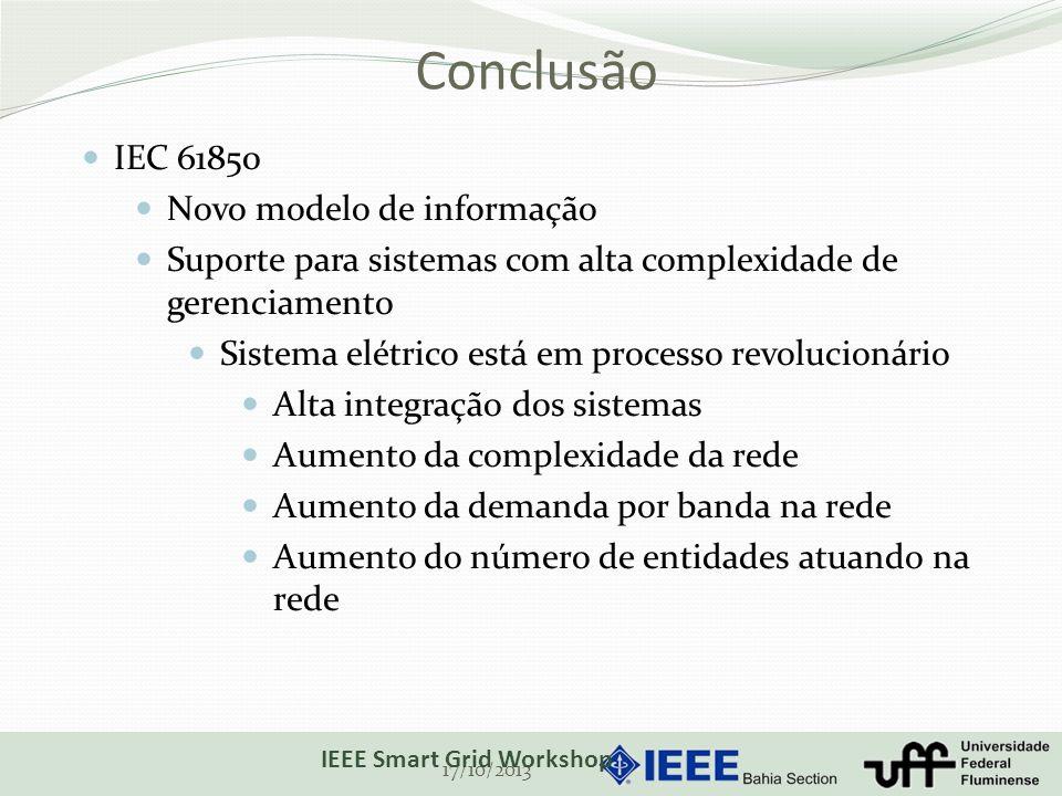 Conclusão 17/10/2013 IEEE Smart Grid Workshop IEC 61850 Novo modelo de informação Suporte para sistemas com alta complexidade de gerenciamento Sistema elétrico está em processo revolucionário Alta integração dos sistemas Aumento da complexidade da rede Aumento da demanda por banda na rede Aumento do número de entidades atuando na rede