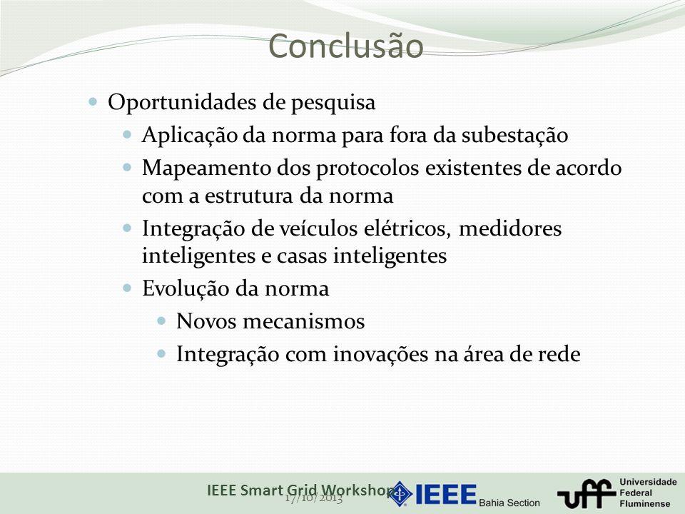 Conclusão 17/10/2013 IEEE Smart Grid Workshop Oportunidades de pesquisa Aplicação da norma para fora da subestação Mapeamento dos protocolos existente