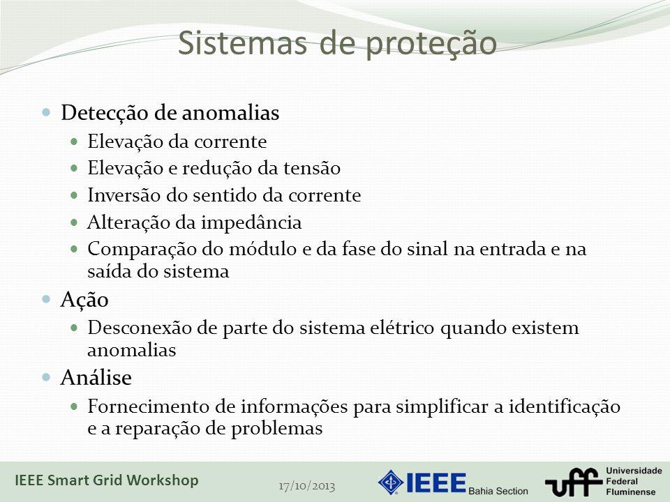 Sistemas de proteção Detecção de anomalias Elevação da corrente Elevação e redução da tensão Inversão do sentido da corrente Alteração da impedância Comparação do módulo e da fase do sinal na entrada e na saída do sistema Ação Desconexão de parte do sistema elétrico quando existem anomalias Análise Fornecimento de informações para simplificar a identificação e a reparação de problemas 17/10/2013 IEEE Smart Grid Workshop