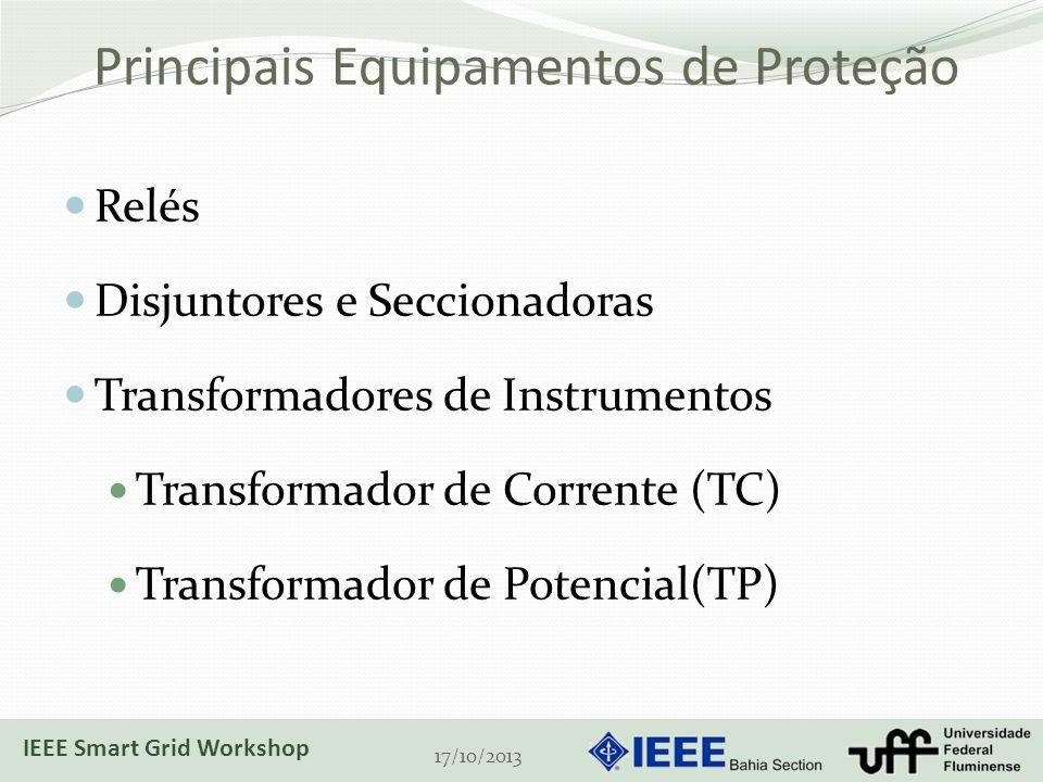Principais Equipamentos de Proteção Relés Disjuntores e Seccionadoras Transformadores de Instrumentos Transformador de Corrente (TC) Transformador de Potencial(TP) 17/10/2013 IEEE Smart Grid Workshop