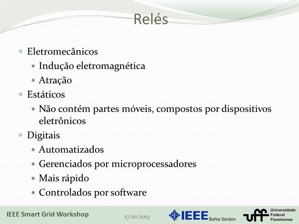 Relés Eletromecânicos Indução eletromagnética Atração Estáticos Não contém partes móveis, compostos por dispositivos eletrônicos Digitais Automatizados Gerenciados por microprocessadores Mais rápido Controlados por software 17/10/2013 IEEE Smart Grid Workshop