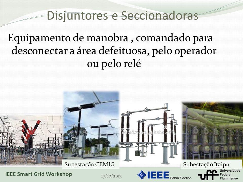 Disjuntores e Seccionadoras Equipamento de manobra, comandado para desconectar a área defeituosa, pelo operador ou pelo relé 17/10/2013 Subestação ItaipuSubestação CEMIG IEEE Smart Grid Workshop