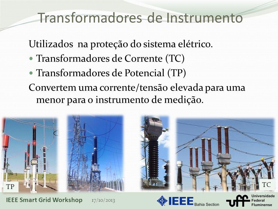 Transformadores de Instrumento Utilizados na proteção do sistema elétrico. Transformadores de Corrente (TC) Transformadores de Potencial (TP) Converte