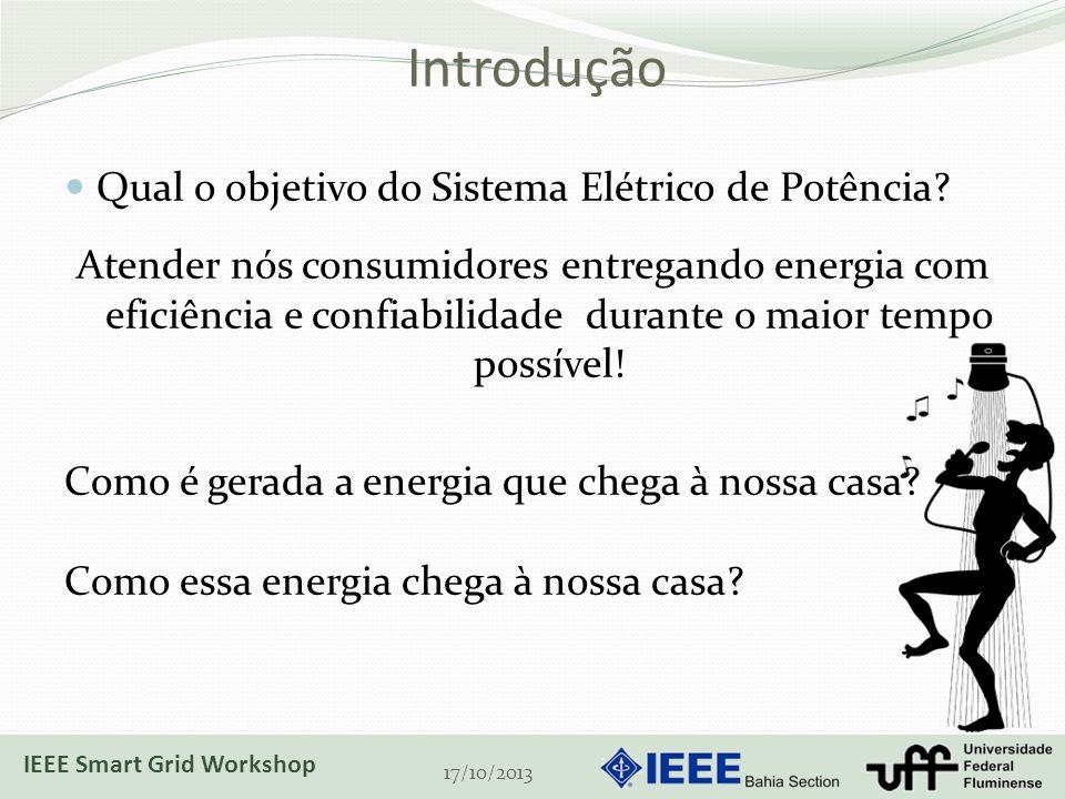 Introdução 17/10/2013 Qual o objetivo do Sistema Elétrico de Potência? Atender nós consumidores entregando energia com eficiência e confiabilidade dur