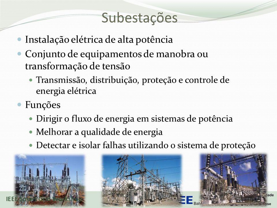 Subestações Instalação elétrica de alta potência Conjunto de equipamentos de manobra ou transformação de tensão Transmissão, distribuição, proteção e