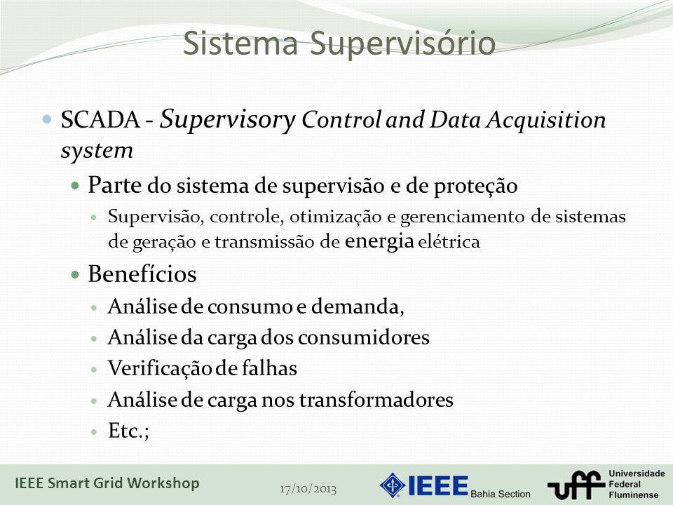 Sistema Supervisório SCADA - Supervisory Control and Data Acquisition system Parte do sistema de supervisão e de proteção Supervisão, controle, otimização e gerenciamento de sistemas de geração e transmissão de energia elétrica Benefícios Análise de consumo e demanda, Análise da carga dos consumidores Verificação de falhas Análise de carga nos transformadores Etc.; 17/10/2013 IEEE Smart Grid Workshop