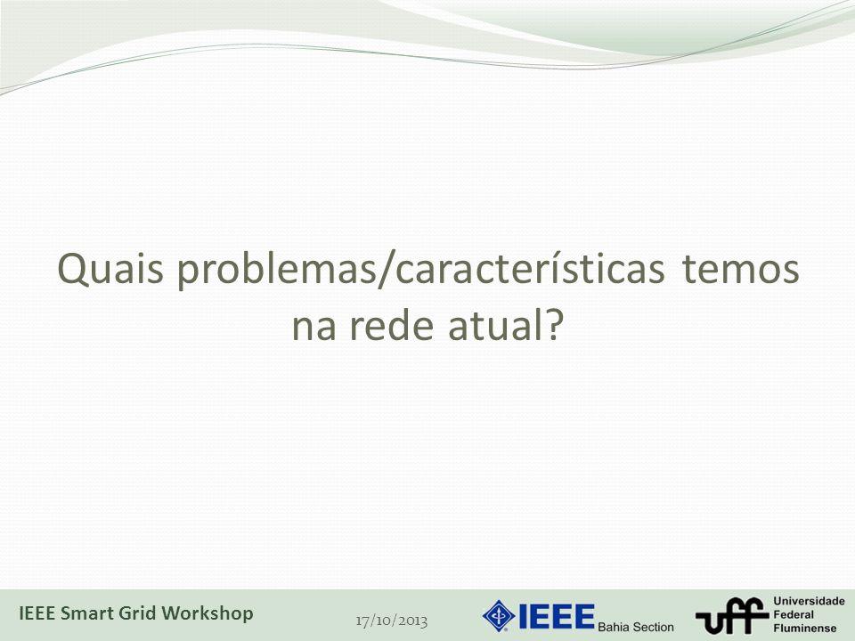 Quais problemas/características temos na rede atual? 17/10/2013 IEEE Smart Grid Workshop