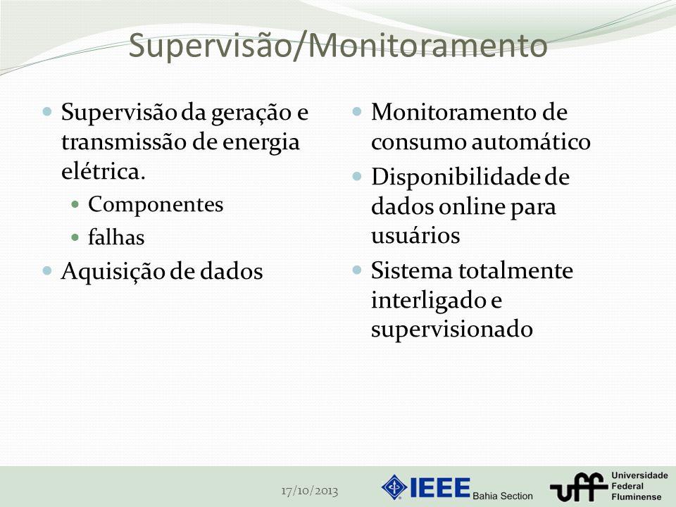 Supervisão/Monitoramento Supervisão da geração e transmissão de energia elétrica. Componentes falhas Aquisição de dados Monitoramento de consumo autom
