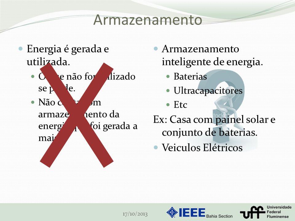 Armazenamento Energia é gerada e utilizada. O que não for utilizado se perde. Não conta com armazenamento da energia que foi gerada a mais 17/10/2013