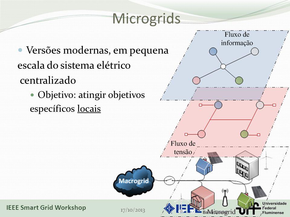 Microgrids Versões modernas, em pequena escala do sistema elétrico centralizado Objetivo: atingir objetivos específicos locais 17/10/2013 IEEE Smart Grid Workshop