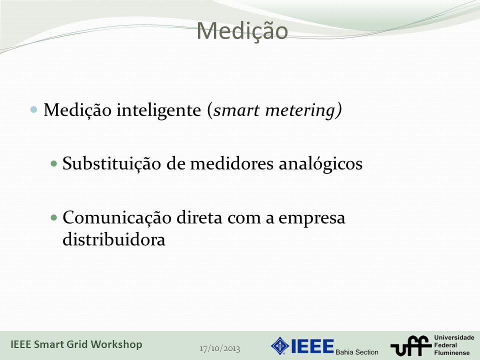 Medição Medição inteligente (smart metering) Substituição de medidores analógicos Comunicação direta com a empresa distribuidora 17/10/2013 IEEE Smart Grid Workshop
