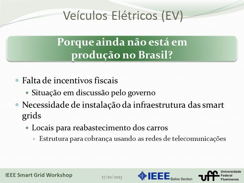 Veículos Elétricos (EV) Falta de incentivos fiscais Situação em discussão pelo governo Necessidade de instalação da infraestrutura das smart grids Locais para reabastecimento dos carros Estrutura para cobrança usando as redes de telecomunicações 17/10/2013 Porque ainda não está em produção no Brasil.