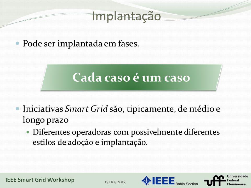 Implantação Pode ser implantada em fases. Iniciativas Smart Grid são, tipicamente, de médio e longo prazo Diferentes operadoras com possivelmente dife